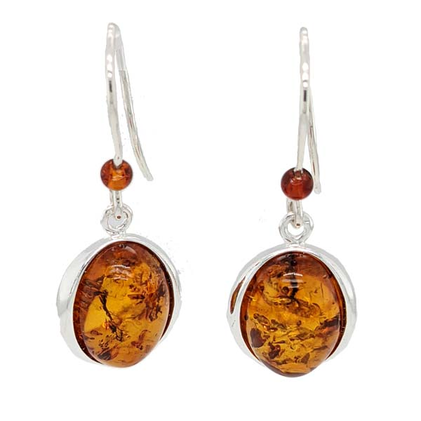 Sally Thorntons Jewellery blog on Amber from AA Thornton Jeweller Kettering Northampton Oval amber & bead silver wire drop earrings £38 our ref  100563