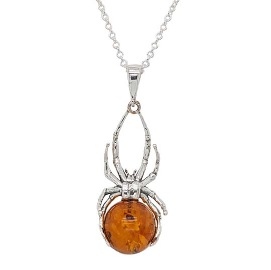Sally Thorntons Jewellery blog on Amber from AA Thornton Jeweller Kettering Northampton Silver & amber spider pendant £45 our ref 100574