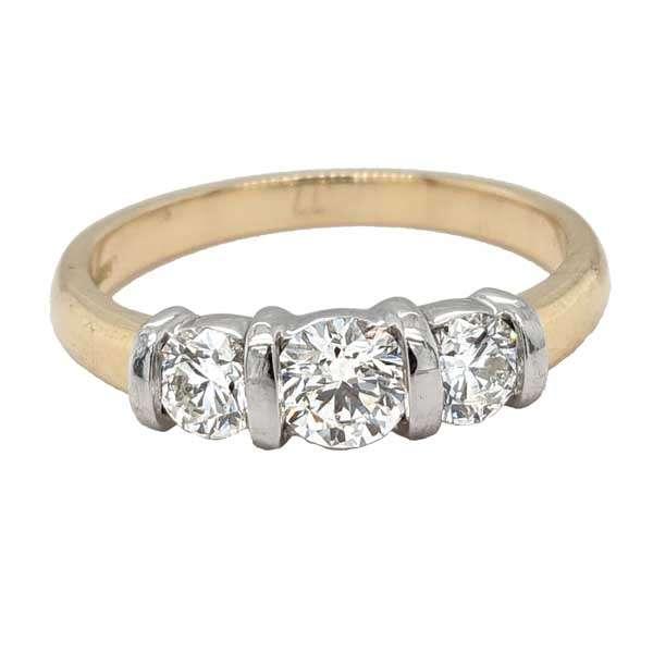18ct yellow gold 3 stone diamond bar set trilogy ring £3,300 from Sally Thorntons Jewellery blog at AA Thornton Jeweller Kettering Northampton