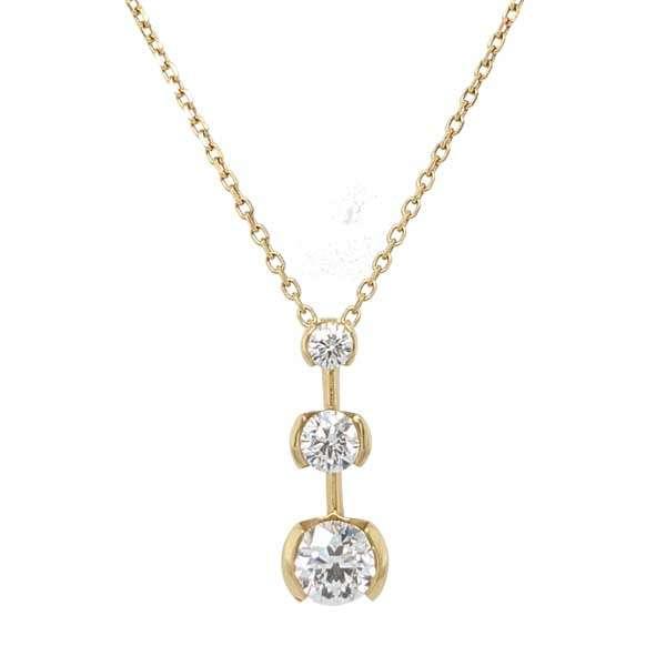 18ct yellow gold diamond graduated trilogy pendant on chain £2,125 from Sally Thorntons Jewellery blog at AA Thornton Jeweller Kettering Northampton