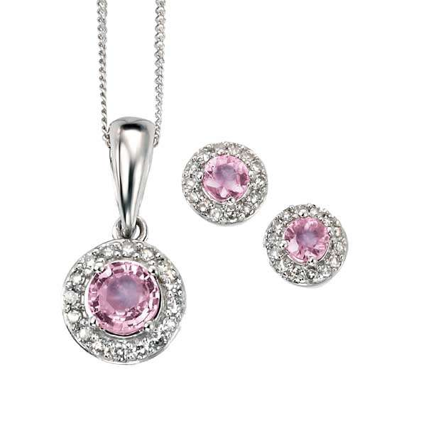 9ct white gold pink sapphire and diamond cluster pendant with chain £365 and earrings £289  from Sally Thorntons Jewellery blog at AA Thornton Jeweller Kettering Northampton