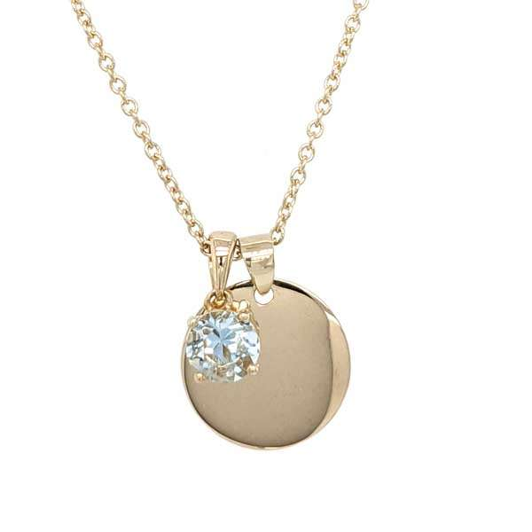 9ct yellow gold disc pendant with aquamarine birthstone pendant on a chain £209 from Sally Thorntons Jewellery blog at AA Thornton Jeweller Kettering Northampton