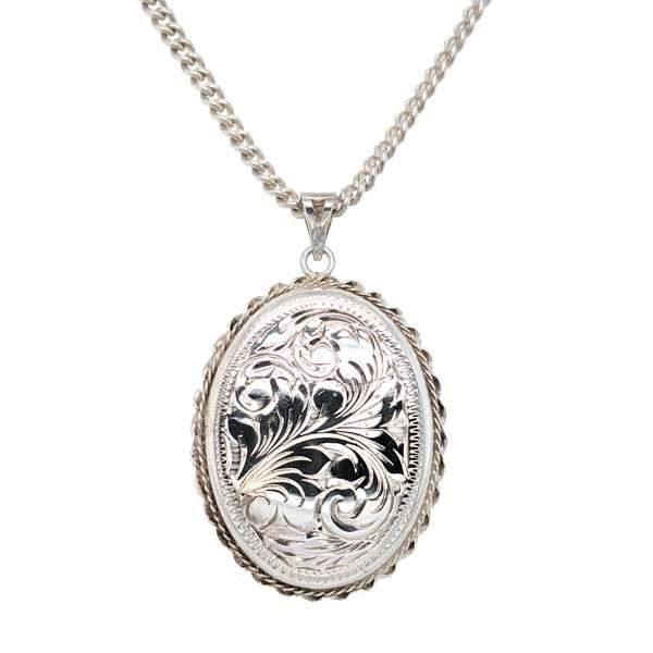 Preloved large engraved silver locket on a chain £55  from Sally Thorntons Jewellery blog at AA Thornton Jeweller Kettering Northampton