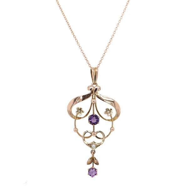 Preloved period amethyst & seed pearl pendant on 9ct rose gold chain £219 from Sally Thorntons Jewellery blog at AA Thornton Jeweller Kettering Northampton