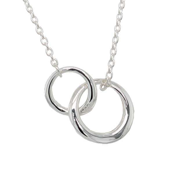 Silver double entwined ring pendant on a chain £85 from Sally Thorntons Jewellery blog at AA Thornton Jeweller Kettering Northampton