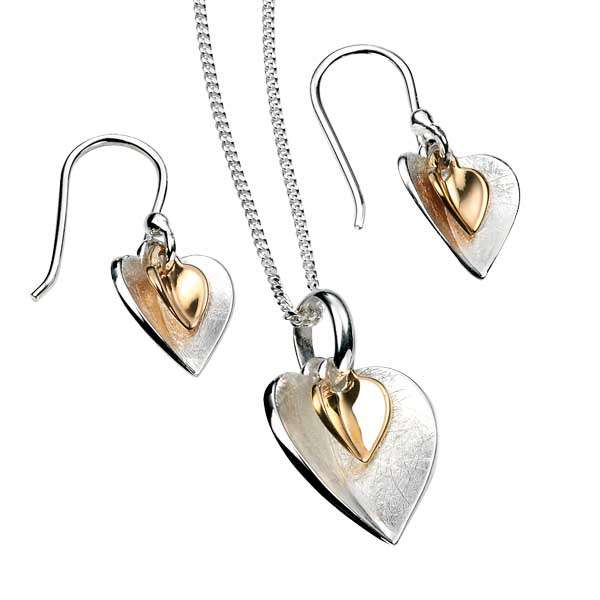 Silver & gold plated double heart pendant on chain £45 & earrings £35 from Sally Thorntons Jewellery blog at AA Thornton Jeweller Kettering Northampton