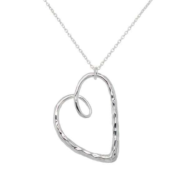 Silver swirly textured heart pendant on a chain £60 from Sally Thorntons Jewellery blog at AA Thornton Jeweller Kettering Northampton