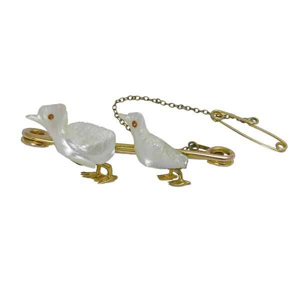 Gold bar brooch with two little mother of pearl ducks from Sally Thornton jewellers blog on bird jewellery Thorntons jeweller Kettering Northampton