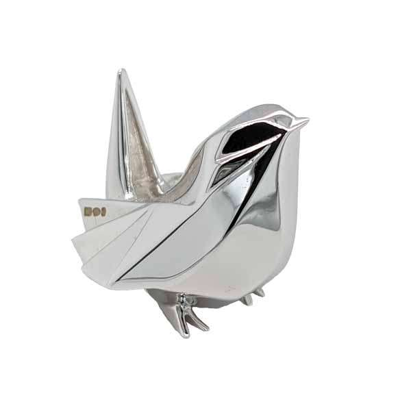 Miniature silver origami wren £ POA from Sally Thornton jewellers blog on bird jewellery Thorntons jeweller Kettering Northampton