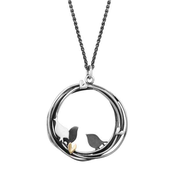 Silver & 9ct gold 3 Little bird pendant £115 from Sally Thornton jewellers blog on bird jewellery Thorntons jeweller Kettering Northampton