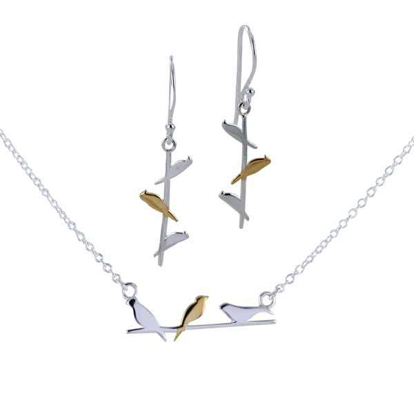 Silver birds on wire pendant £39 & earring £29 from Sally Thornton jewellers blog on bird jewellery Thorntons jeweller Kettering Northampton