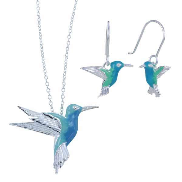 Silver enamel humming bird pendant on chain £59 & earrings £45 from Sally Thornton jewellers blog on bird jewellery Thorntons jeweller Kettering Northampton