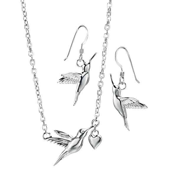 Silver hummingbird & heart necklace £52 & drop earrings £38 from Sally Thornton jewellers blog on bird jewellery Thorntons jeweller Kettering Northampton