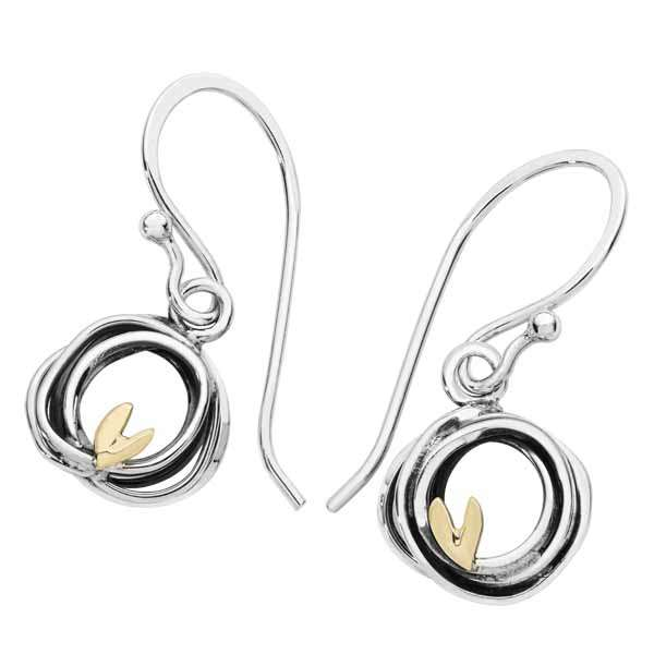 Sterling Silver & 9ct gold three birds earrings £65 from Sally Thornton jewellers blog on bird jewellery Thorntons jeweller Kettering Northampton