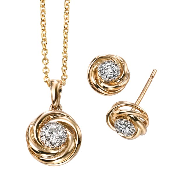 9ct yellow gold diamond set knot pendant on chain £580 & earrings £345 from Sally Thornton Jewellery Blog on Knots from Thorntons Jewellers Kettering Northampton