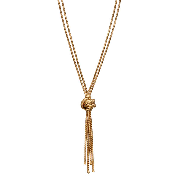 9ct yellow gold tassel knot necklace £695 from Sally Thornton Jewellery Blog on Knots from Thorntons Jewellers
