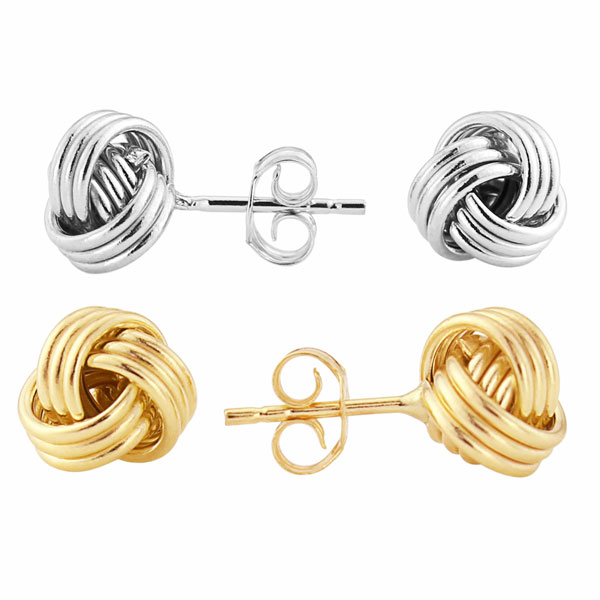 9ct yellow or white gold sailors monkeys fist knot stud earrings £75 from Sally Thornton Jewellery Blog on Knots from Thorntons Jewellers Kettering