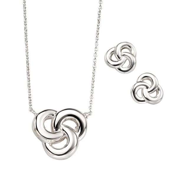 Silver trinity knot necklet £39 & earrings £21 from Sally Thornton Jewellery Blog on Knots from Thorntons Jewellers