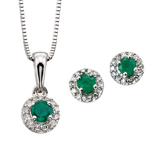9ct white gold emerald & diamond cluster pendant on a chain £220 & earrings £275 From Sally Thorntons Jewellery blog at Thornton Jeweller Kettering Northampton