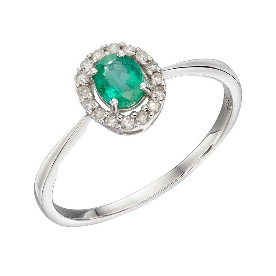 9ct white gold emerald and diamond oval cluster ring £425 From Sally Thorntons Jewellery blog at Thornton Jeweller Kettering Northampton