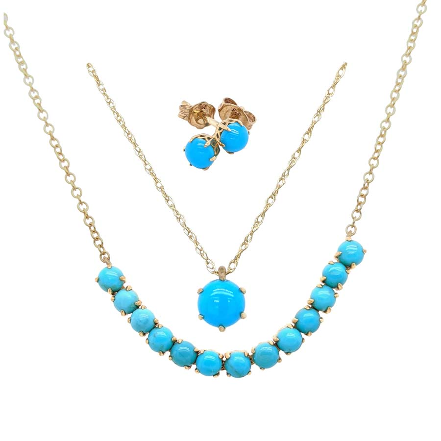 9ct yellow gold 13 turquoise bead necklet £550 pendent on a chain £175 & stud earrings £195 From Sally Thorntons Jewellery blog at Thornton Jeweller Kettering Northampton