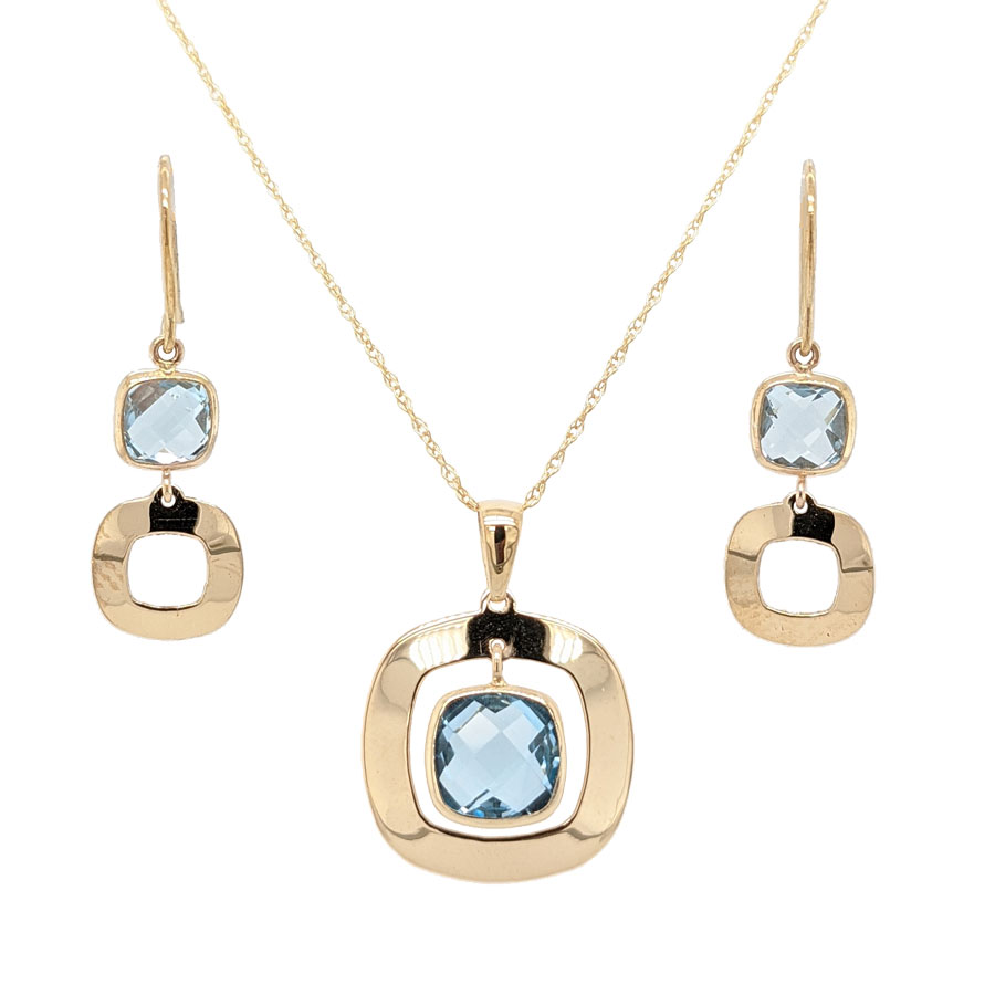 9ct yellow gold faceted blue topaz pendant on a chain £195 and earrings £125 From Sally Thorntons Jewellery blog at Thornton Jeweller Kettering Northampton