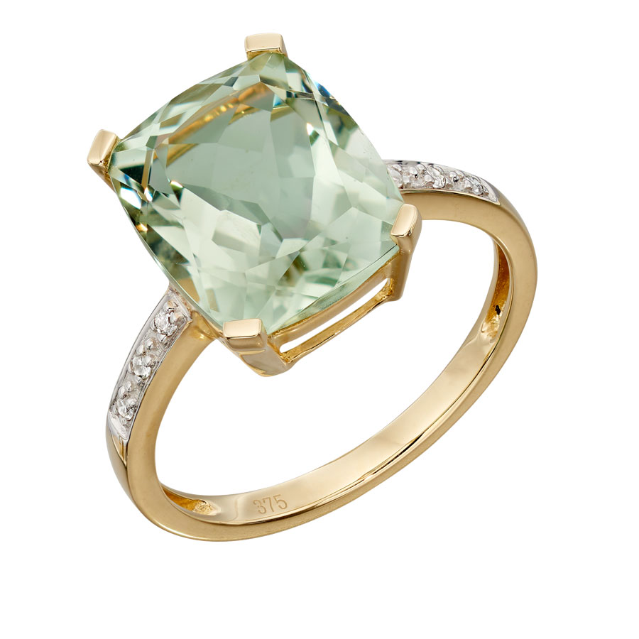 9ct yellow gold green amethyst ring with diamond set shoulders £395 From Sally Thorntons Jewellery blog at Thornton Jeweller Kettering Northampton