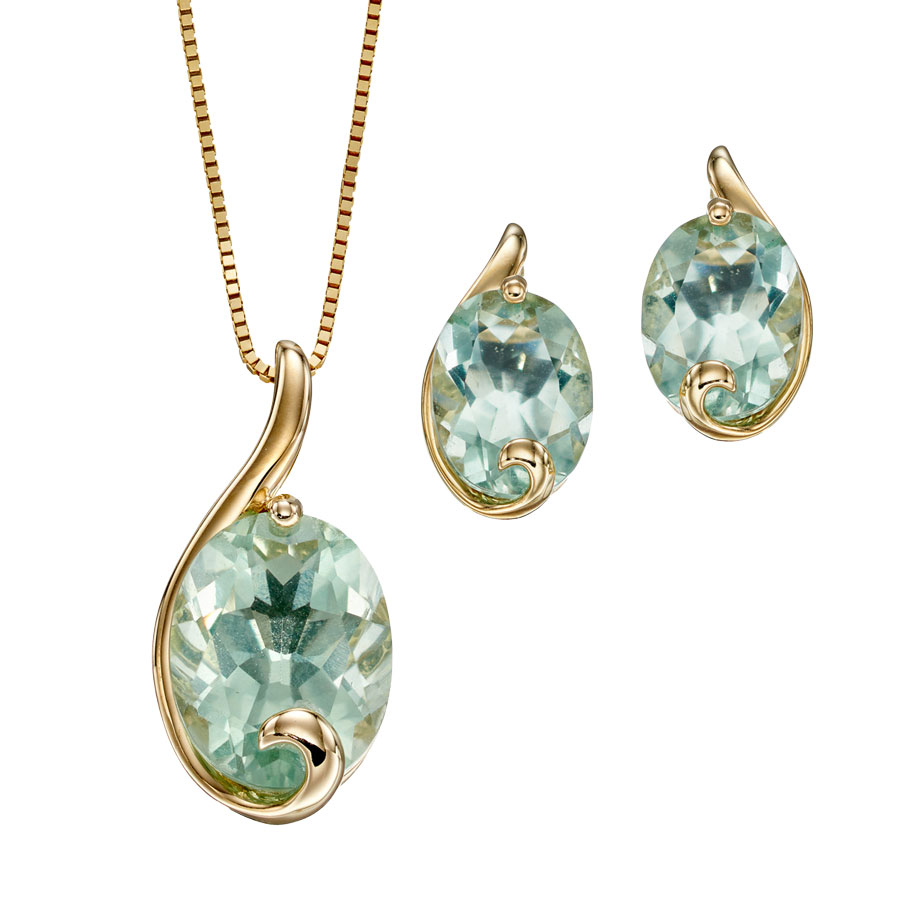 9ct yellow gold green fluorite pendant on chain £295 & earrings £225 From Sally Thorntons Jewellery blog at Thornton Jeweller Kettering Northampton