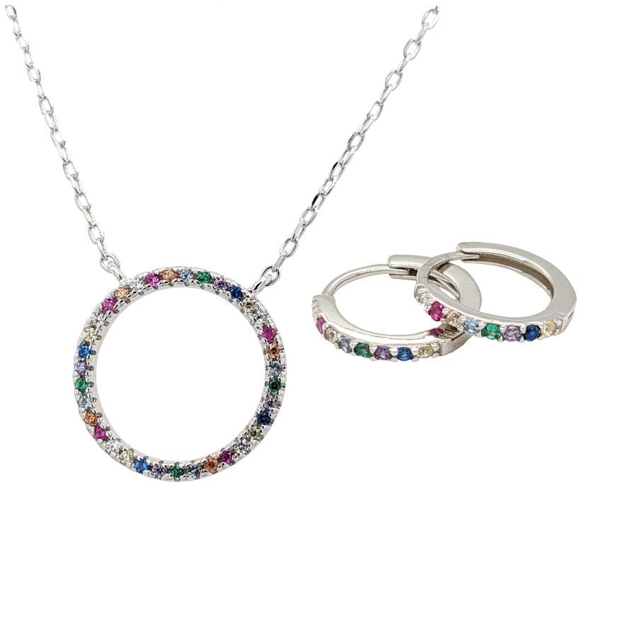 Delicate silver multi stone circular hoop pendant £41 and matching hoop earrings £25