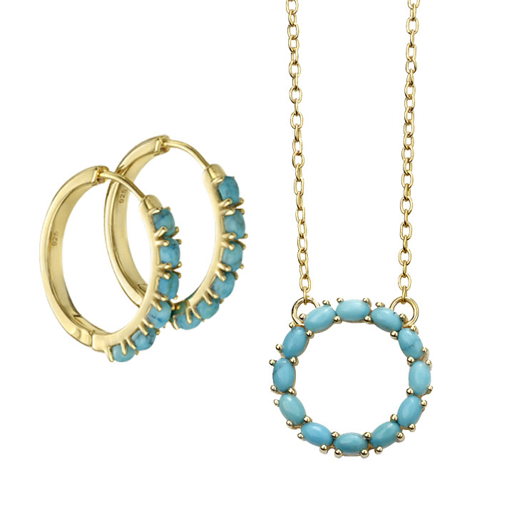 Gold plated magnesite circular pendant with chain £69 and hoop earrings £69 From Sally Thorntons Jewellery blog at Thornton Jeweller Kettering Northampton