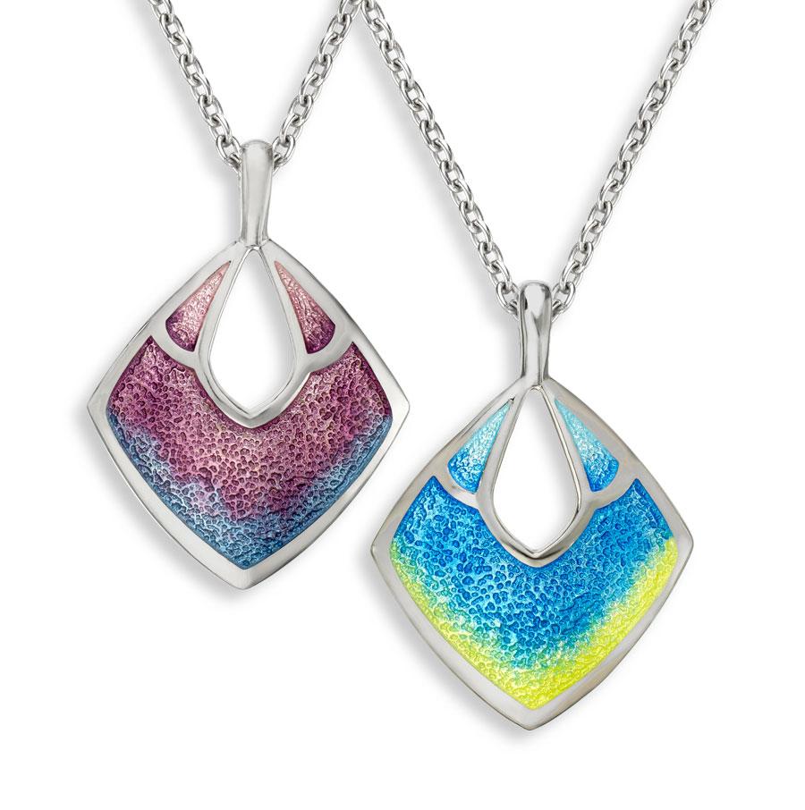 Nicole Barr enamelled rhombus pendants with chain £132 From Sally Thorntons Jewellery blog at Thornton Jeweller Kettering Northampton