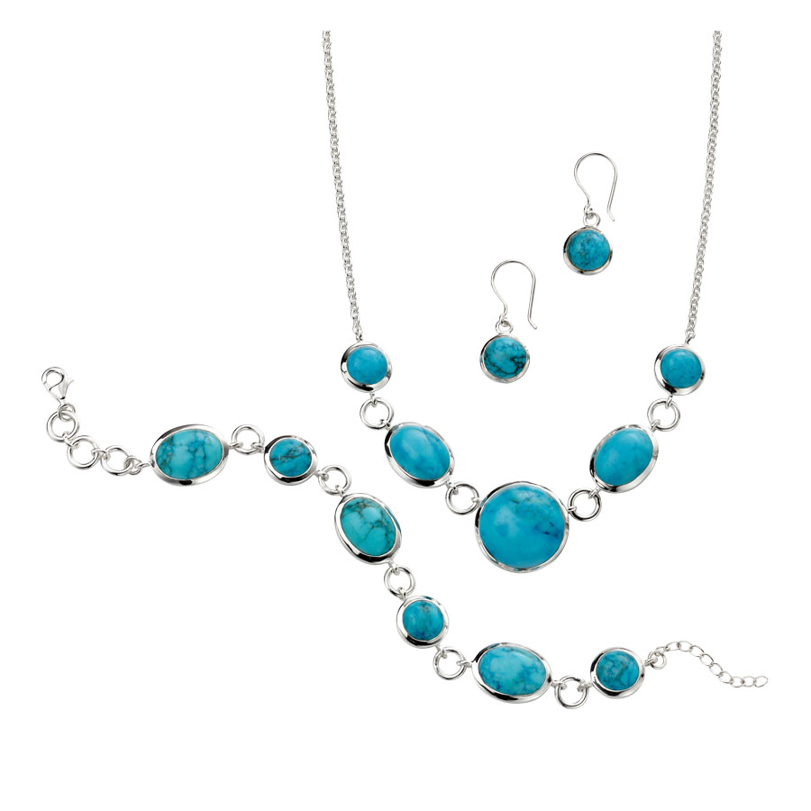 Silver Magnesite link necklet £145 drop earrings £52 and Bracelet £145 From Sally Thorntons Jewellery blog at Thornton Jeweller Kettering Northampton