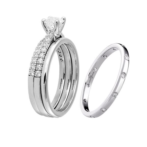 Ladies trio of rings and diamond set wedding ring  from Sally Thornton jewellery blog on Wedding Rings at Thorntons Jewellers Kettering Northampton