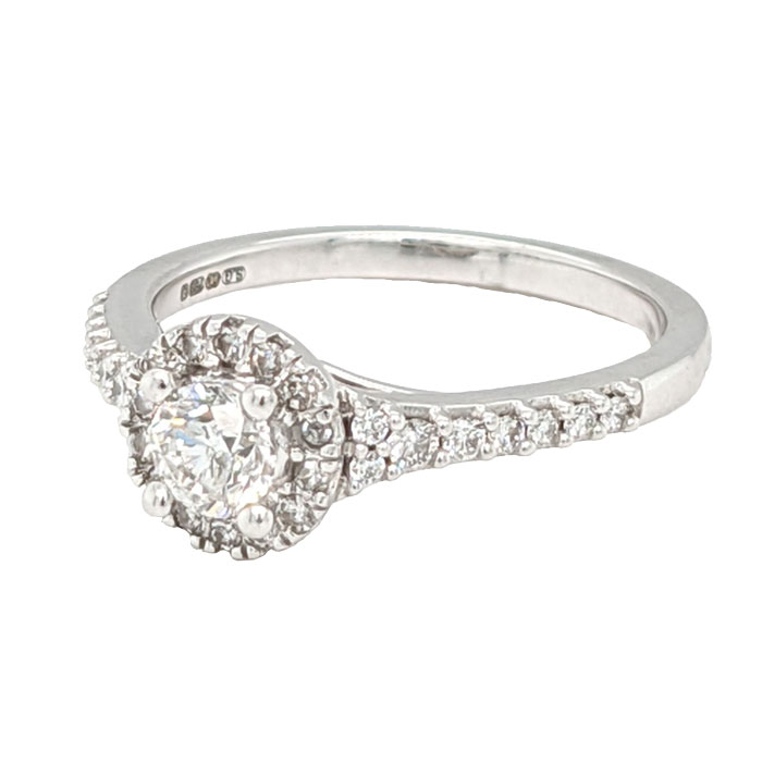 100420 Pre loved 18ct diamond cluster ring with diamond set shoulders £925 on Jewellery blog by Sally Thornton for Thorntons Jewellers Kettering Northampton
