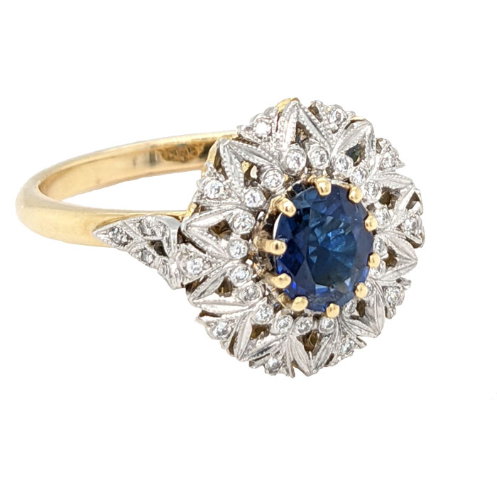 102021 Pre loved 18ct sapphire & diamond cluster ring £525 on Jewellery blog by Sally Thornton for Thorntons Jewellers Kettering Northampton
