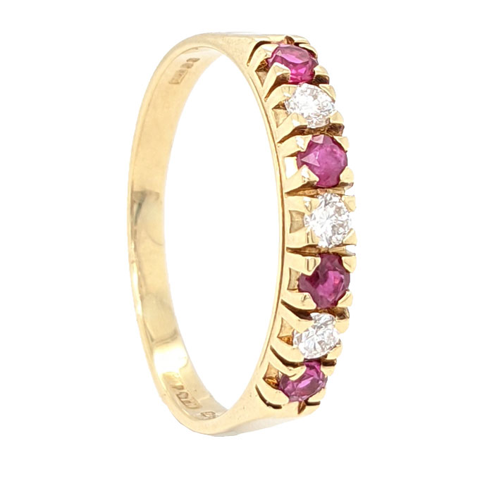 102022 Pre loved 18ct ruby &diamond half eternity ring £375 on Jewellery blog by Sally Thornton for Thorntons Jewellers Kettering Northampton