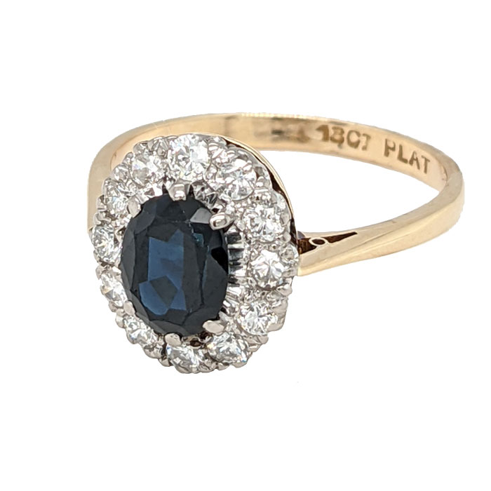 102027 Pre loved 18ct & platinum sapphire & diamond cluster ring on Jewellery blog by Sally Thornton for Thorntons Jewellers Kettering Northampton