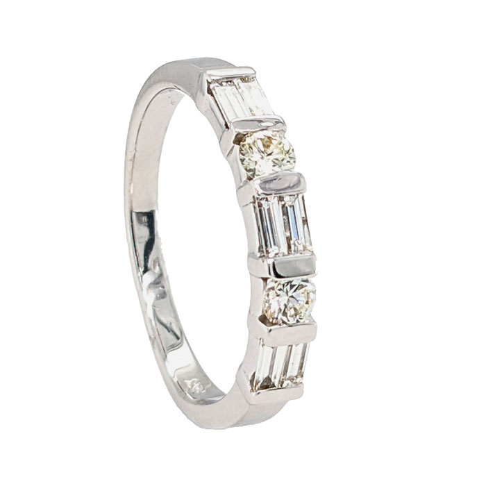 102056 Pre loved 18ct bar set diamond half eternity ring £750 from Jewellery blog by Sally Thornton for Thorntons Jewellers Kettering Northampton