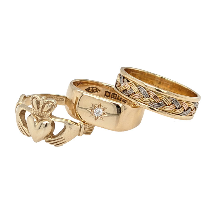 94846 99634 92265 10ct Claddagh ring £175, 18ct star set diamond signet ring £495 & 18ct three colour gold ring £82 on Jewellery blog by Sally Thornton for Thorntons Jewellers Kettering Northampton