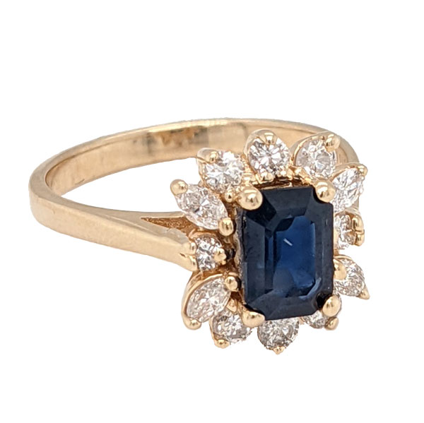 99310 Pre loved sapphire & diamond-cluster ring stamped 14ct £1,275 on Jewellery blog by Sally Thornton for Thorntons Jewellers Kettering Northampton
