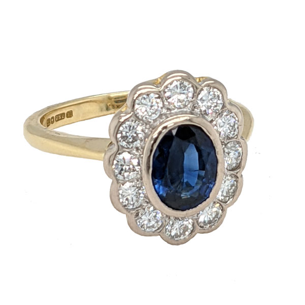 99311 Pre loved 18ct sapphire & diamond cluster ring £1,995 Jewellery blog by Sally Thornton for Thorntons Jewellers Kettering Northampton