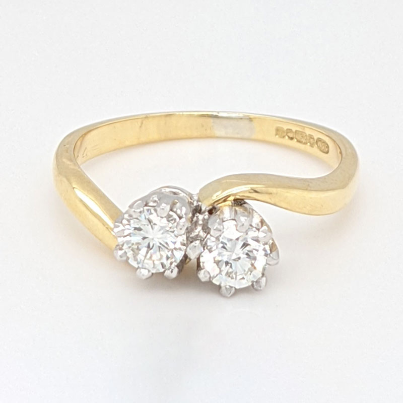 Pre loved 18ct 2 stone diamond ring with new platinum setting £1,050 our ref 99773 on Sally Thorntons jewellery blog from AA Thornton Kettering Northampton