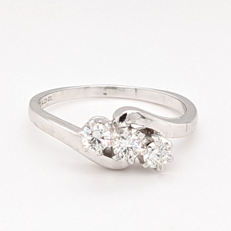 Pre loved 18ct white gold 3 stone diamond ring with new platinum setting £695 our ref 99774 on Sally Thorntons jewellery blog from AA Thornton Kettering Northampton